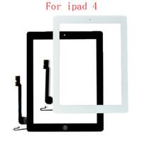 20pcs tactile de remplacement de l'écran de verre Digitizer Assemblée pour 2 IPAD IPAD 3 IPAD 4 tactile numériseur avec du ruban adhésif blanc noir