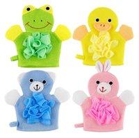 الحيوانات الكرتون حمام أطفال القفاز الأصدقاء لبطة الضفدع الأرنب المرح للأطفال حمام غسل قفازات حمام الطفل فرك منشفة SN1078