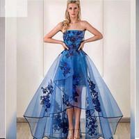 Eleganckie sukienki bez ramiączek o wysokiej niskiej sukienkach z koronkowymi aplikacjami Ruched linia patrz przez spódnica długi wieczór party formalne vestido de festa