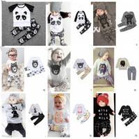 Roupa Bebés Meninos Ins roupas de verão meninas T-shirt Moda calças de algodão Suits letra dos miúdos Imprimir Tops Leggings Kids Clothing Define CZYQ3843