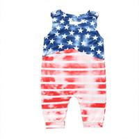 Baby Sommer Stern Overall amerikanische Flagge Unabhängigkeit Nationalfeiertag USA 4. Juli ärmellos bedruckt gestreifte Nähte Baby Strampler