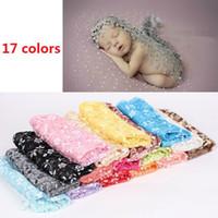 Bebé recién nacido encaje Wraps con borla Foto accesorios flor bordada infantil niña manta de la foto bufanda