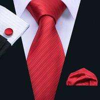 Livraison rapide rouge Cravate à rayures de poche Boutons de Manchette Carrés Set pour Hommes Business Party Hot Wholesale Freeing Expédition N-5088