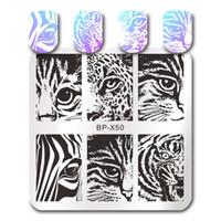 NACIDO de uñas bonita plaza Estampación Plantilla del gato de tigre de la hoja de geometría rayas Animal uñas de manicura Placa imagen del arte