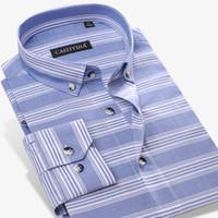 1c624c1ec5 100% Algodão Primavera Novo Design Formal Dos Homens Camisas de Vestido  Azul   branco Listras