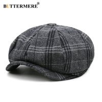 Cappello di lana BUTTERMERE Uomini Berretto unisex Beret Tweed Gatsby ottagonale Plaid Donne vintage di marca Inverno Primavera Duckbill Cappelli
