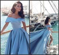 2020 New Modern Arabic Light Blue Formal Evening Dresses 2017 Elegant Off The Shoulders Front Split Popular Evening Prom Gowns 406