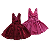 Primavera Kids Girls Soild Suspender Tutu Gonna Dress Baby Girls Party Bow Abiti retrò Kid Girl Abbigliamento Boutique di moda