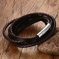 ZORCVENS 2020 de cordón múltiple pulseras tejidas hechas a mano de las mujeres Negro trenzado real de cuero genuino pulsera de cuero pulsera de cuerda