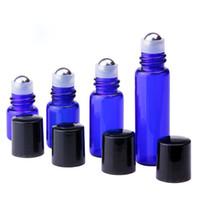 1ml 2ml 3ml 5ml en verre Rouleau bouteille Roll On Huile Essentielle Vial avec SS Ball And Black Cap 1100Pcs Lot