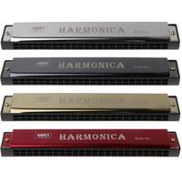 Профессиональный 24-луночная гармоника C ключевые металлические гармоники Woodwind инструмент для начинающих 4 цвета Dropshipping