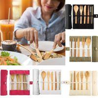 Grupo de talheres de madeira Utensils Cutelaria de viagem Conjunto Reusável Colher Faca Faca Palhas 6 pçs / set com bolsa de jantar conjuntos OOA7522-7
