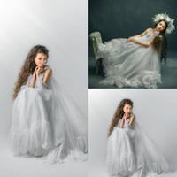 Peri Gri Mavi Küçük Kızlar Pageant elbise Dantel İnciler Cap Sleeve A Hattı Çiçek Kız Elbise Düğün İçin Törenlerinde Prenses Giymek