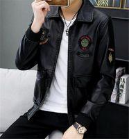 Mens Fashion PU Jacke Designer Slim Lange Ärmel Mantel Herren Casual Printed Turned Revers Halsjacke