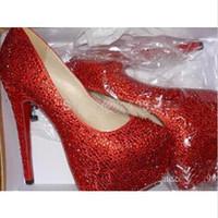 Moda Mujeres Bombas Marca Zapatos Inferiores Rojos Rhinestone Crystal Tacones Altos Bombas de Plataforma de Cristal Sexy Zapatos de Boda para Mujer 160mm / 140mm