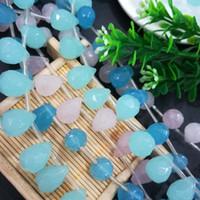 Forma de gota de agua lado espaciado facetado Rondelle cristal perlas de cristal para DIY Hacer Rosa claro / verde / azul