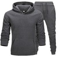 الرجال رياضية الرجال البلوز رياضية الملابس الداخلية الحرارية مجموعات ملابس رياضية الصوف سميكة هوديي + سروال رياضي البدلة الذكور