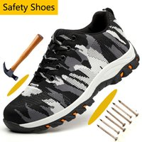 Protective Steel Toe Anti-smashing Work Safety Shoes Camouflage Mesh Anti-puncture Safety Shoes for Men Breathable Hiking