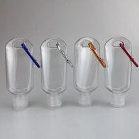 50ml botellas vacías de alcohol desinfectante de mano recargable de la botella con el anillo de tecla de conexión al aire libre portátil gel transparente transparente Botella EEA1711