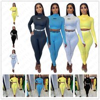 Femmes Survêtement en plastique Femme Stacker Collier Pull T-shirt + Imprimer Casual Tenues Leggings Pant 2 Pieces Mesdames Costume Collants Vêtements D52706