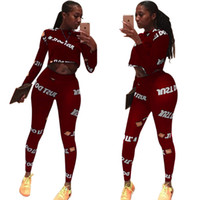 19ss Burgundy Letter Printed Sexy 2 Piece Set Autumn O Neck ...