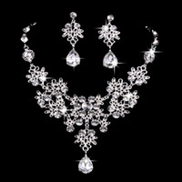 6 colors women Bling Crystal Bridal Jewelry Set silver diamo...