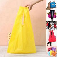 Eco Friendly bolso plegable útil bolsos de compras reutilizable portátil de ultramarinos de nylon de gran bolso puro Almacenamiento Color Bolsas RRA3225