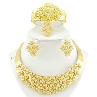 Shinning Jóias De Ouro 4 Peças Conjuntos de Colar Brincos Anéis Pulseira de Jóias De Noiva Acessórios De Noiva Jóias Do Casamento T228421