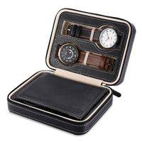4 сетки искусственная кожа часы коробка путешествия чехол для хранения молния наручные часы коробка организатор держатель для часов часы ювелирные коробки дисплей