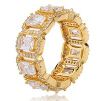 Hip Hop Iced Out Rettangolare Zircone Hip Hop Mens Anello in oro argento Big CZ Bling Charm Gioielli