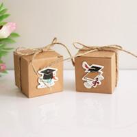 100 ADET Öğrenci mezuniyet sezonu şeker kutusu Şapka DIY kart el Şeker Kutusu Retro Kraft hediye kutusu