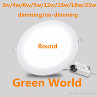 Dimmen / No-Dimmen Ultra dünn runde LED-Panel-Licht-Downlight-LED-Decke 3W / 4W / 6W / 9/12W / 15W / 18W / 25W abgerundet Deckenleuchte AC85-265V-Panel