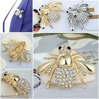 Nuevo Lindo Little Bee Broche Rhinestone Crystal Animal Brooches Precioso Brooches para Mujeres Moda Joyería Accesorios