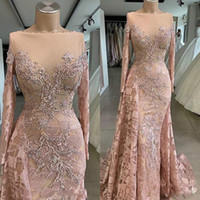 2020 Mermaid Abendkleider Bateau Langarm Applique Perlen Spitze Prom Dress Sweep Zug Sonderanlässe Kleider