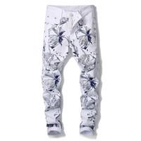 Imprimir Moda Tendência Elastic White Denim calças dos homens dos homens Jeans