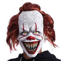 C/Miracle IT Stephen King Clown Halloween Joker Mask Movie Theme Latex Adult Full Face Horror Party Masks For Cosplay Costume Masquerade
