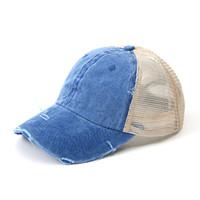 Lavé queue de cheval Casquette de baseball femmes Messy Bun Baseball Chapeau Snapback Vintage Dyed profil bas réglable chapeaux de soleil Caps Net Hat GGA3153-4