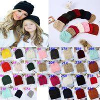 Ebeveynler Çocuk Örme Şapka Bebek Anneler Kış Örme Şapkalar Sıcak Trendy Beanies Tığ Caps Açık Slouchy Beanies Da098
