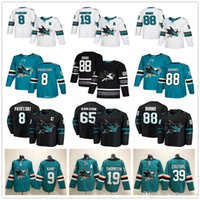 Lady Mens Youth 65 Erik Karlsson Joe Pavelski Joe Thornton Brent Burns Logan Couture Evander Kane Preto Verde Branco San Jose Sharks Jerseys