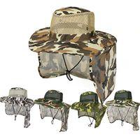 Camouflage En Plein Air Sport Jungle Militaire Casquette De Pêche Écran De Soleil Gaze Chapeau Cowboy Packable Armée Seau Chapeau TTA870