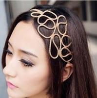 60pcs / lot DIY einfache goldene Legierung durchbohrten Stricken Hauptband-Kette Stirnband-Haar Styling Werkzeuge Zubehör HA1202
