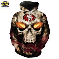 roaring skull pullover fashion San Francisco 49ers hooded sw...