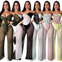 Mesh Beach 2 Piece Set Off Bandage d'épaule + Pantalon à jambe large évider Mode Lâche Deux Pièce Femme Lantern Sleeve Beach Suits Top
