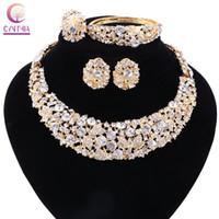 Set di gioielli in cristallo in cristallo di colore oro boho con orecchini per la collana di dichiarazione diretta per la collana di nozze del partito