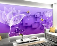 3D Floral Butterfly Wallpaper Purple Wall Mural Non- woven fo...