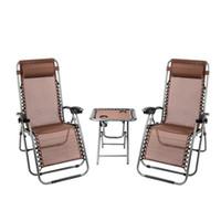 Waco 3PC 제로 중력 의자 세트, 야외 파티오 라운지 의자 휴대용 테이블, 컵 홀더, 발코니 수영장, 컵 접이식 세트 (브라운)