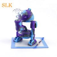 5,3 pouces Robot forme Droite Tube Conduites D'eau Fumer Bongs Avec Bol En Verre Mini Bubblers Bong En Verre Narguilé Recycleur Plates-formes D'huile