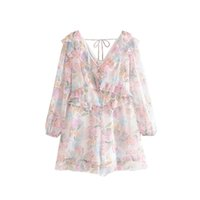 Vintage Stylish Floral Print Ruffles Playsuits Women 2019 Fa...