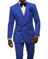 Royal Blue Men Casamento Smoking Gravando Noivo Smoking Moda Masculina Blazer 2 Peça Terno Prom / Jaqueta de Jantar Custom Made (Jacket + Pants + Tie) 1629
