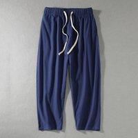 Pantaloni di lino lunga fino alle caviglie degli uomini grandi formato più casuale tela di stile cinese maschio Drawstring sciolto Hallen pantaloni hip hop